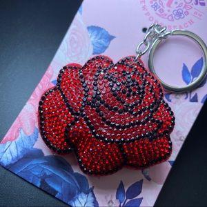 Red rose  rhinestone key chain